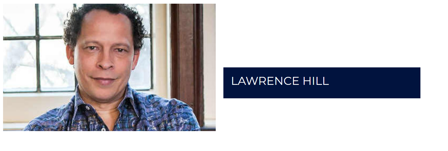 """Picture of Lawrence Hill with the words """"Lawrence Hill"""" in a box to the right."""