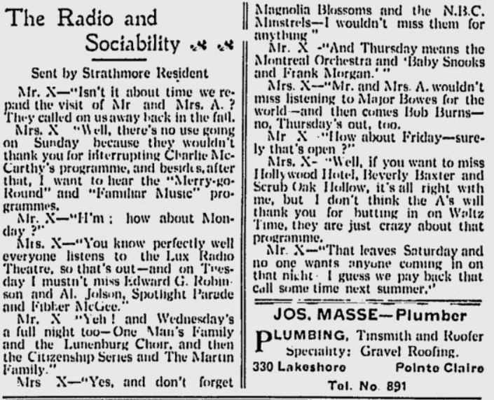 Article from the 1930s called Radio and Sociability
