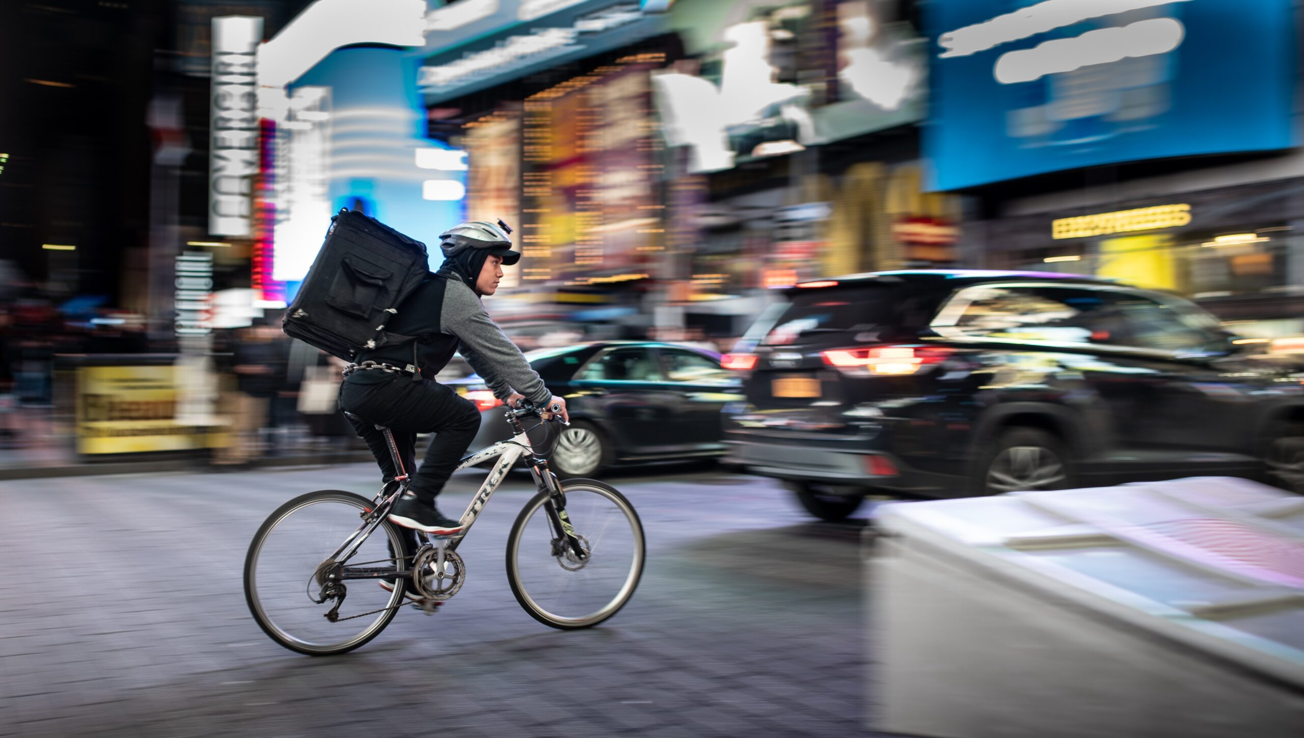 Food delivery courier on a bicycle
