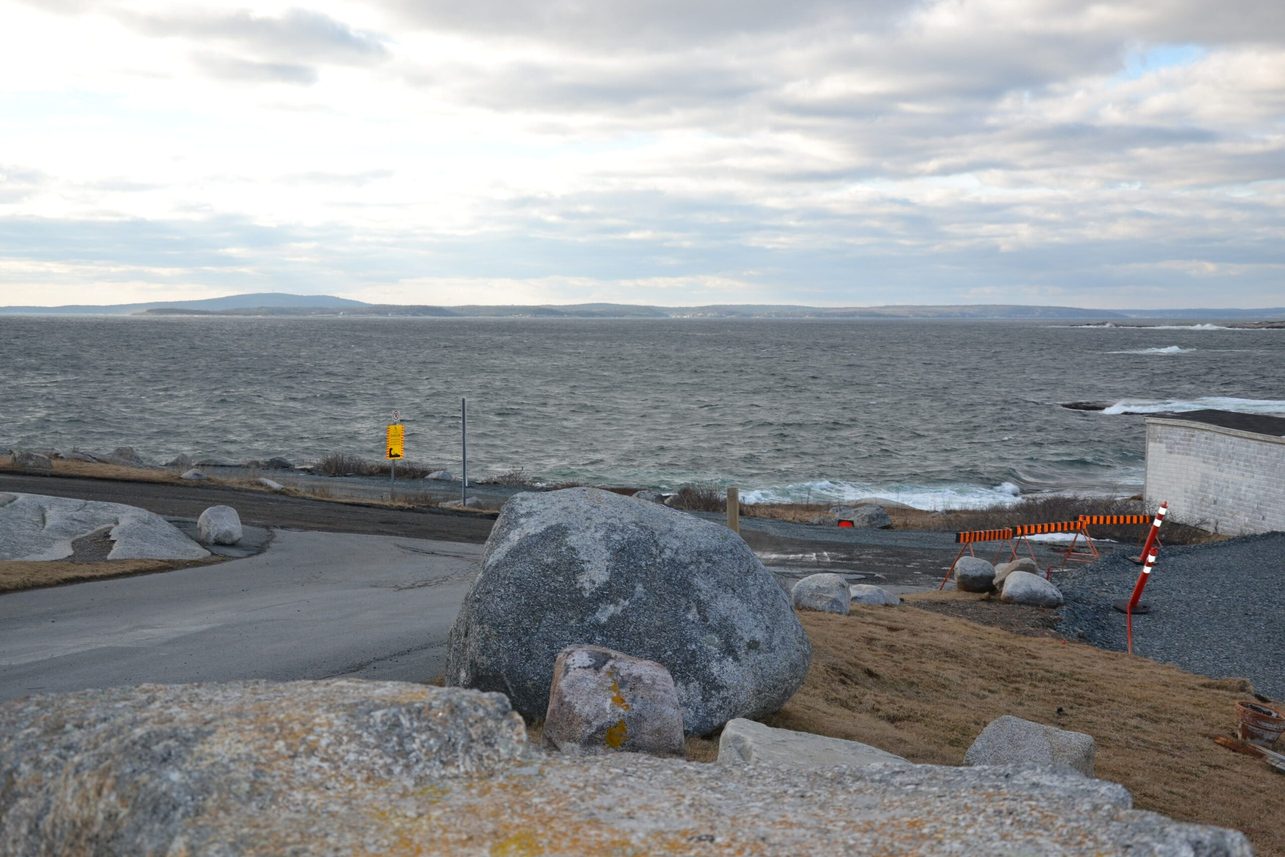 Rock in the foreground, ocean in background