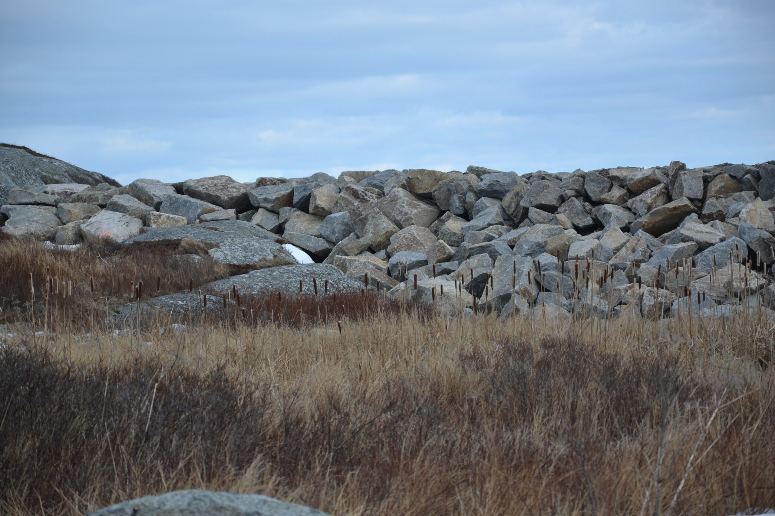 Rock breakwater at Peggy's Cove.