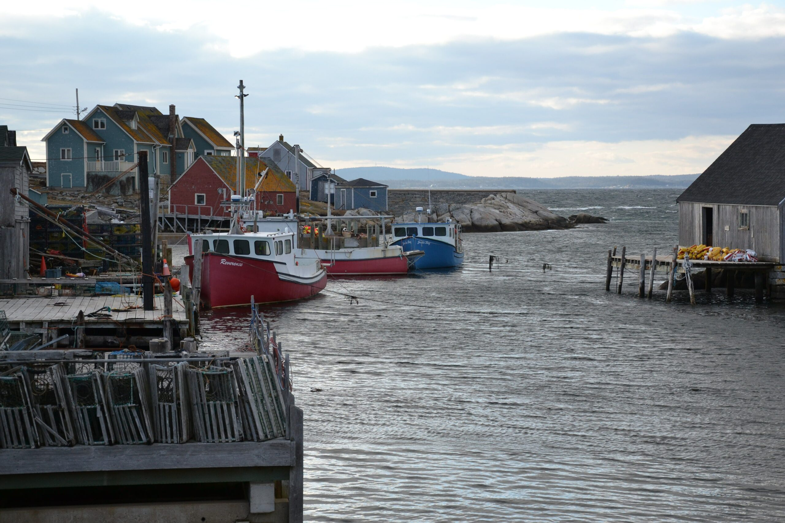 Inlet with fishing boats