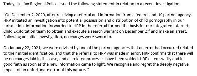 Statement from Halifax Regional Police.