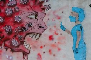 Painting showing the coronavirus as someone yelling.