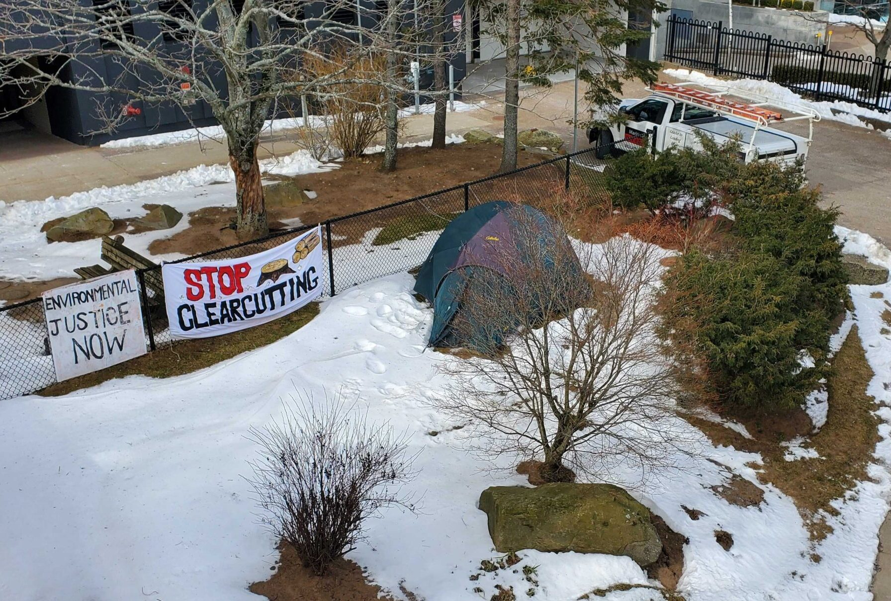 Tent in the snow with signs against clearcutting.
