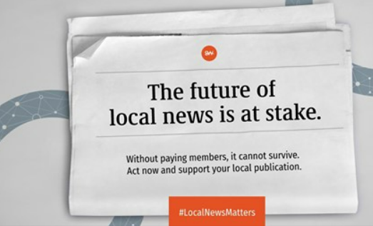 Image from Facebook post saying the future of local journalism is at stake and urging people to buy a newspaper subscription