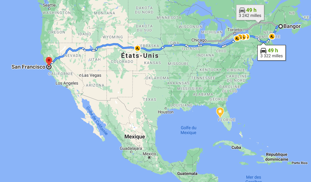 Map of the United States showing route from Bangor to San Francisco