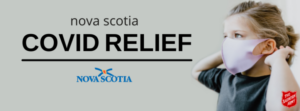 Banner reading Nova Scotia Covid Relief with a woman wearing a mask and the Salvation Army logo.