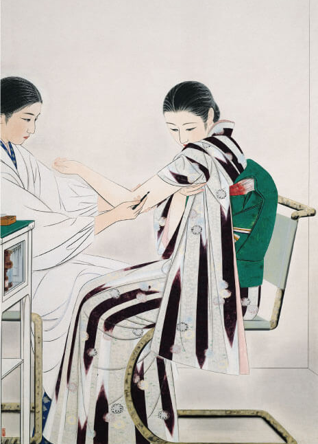 Stylish young Japanese woman being vaccinated in a 1930s painting.