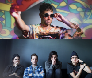 A photo of Rich Aucoin, against a psychedelic background, wearing a tie-dyed T-shirt and funky round sunglasses. Below that, a photo of the four member band Like a Motorcycle, against a blue blackgound, sitting on a blue sofa, all wearing blues and blacks and looking very moody.
