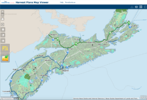 A map of Nova Scotia showing the forest areas planned for harvest.