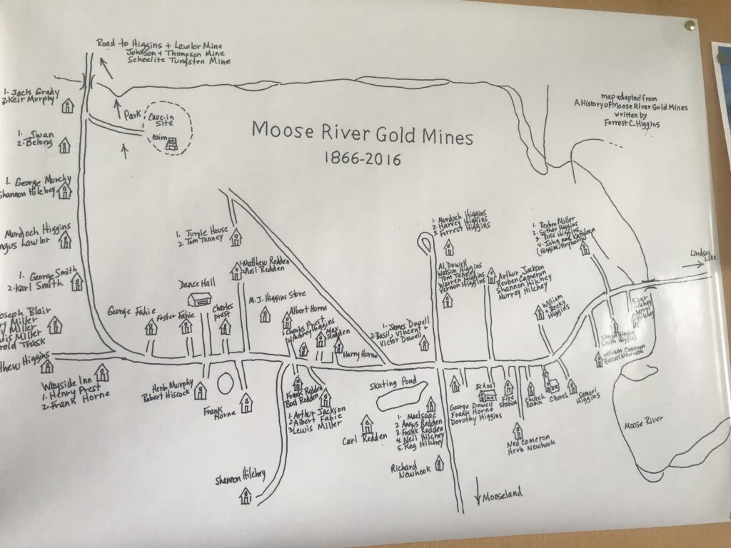 Drawing of former Moose River community where the mine now stands, from a book by Forrest Higgins and now displayed in the Moose River Gold Mine Museum.