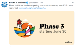 """A tweet from health and Wellness NS, with a cartoon of a sailboat and lighthouse, with the words """"Phase 3 starting June 30."""""""