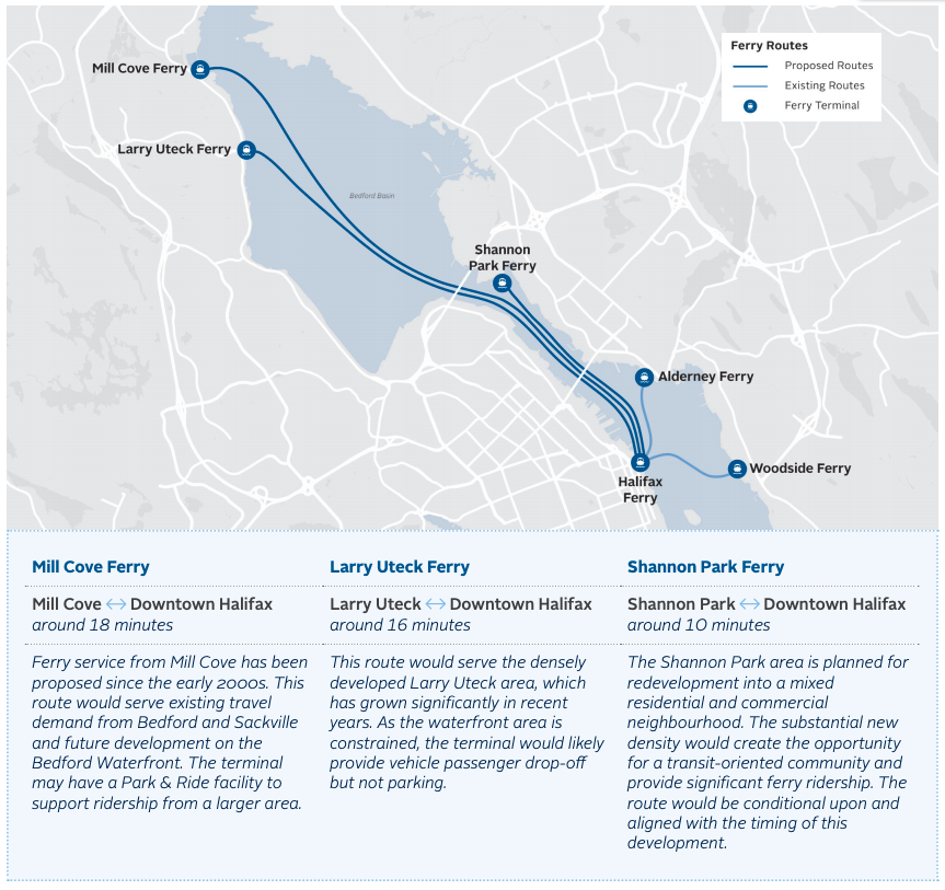A map of the three new ferry routes proposed in the Rapid Transit Strategy, along with the existing two ferry routes.