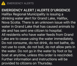 A screenshot of the emergency alert sent out in the wee hours of June 10, 2021. It's got white lettering on a black background, and looks frighteningly official.