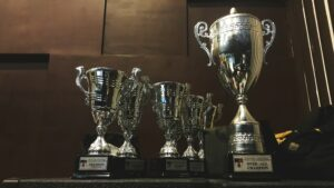 Several trophies on a shelf