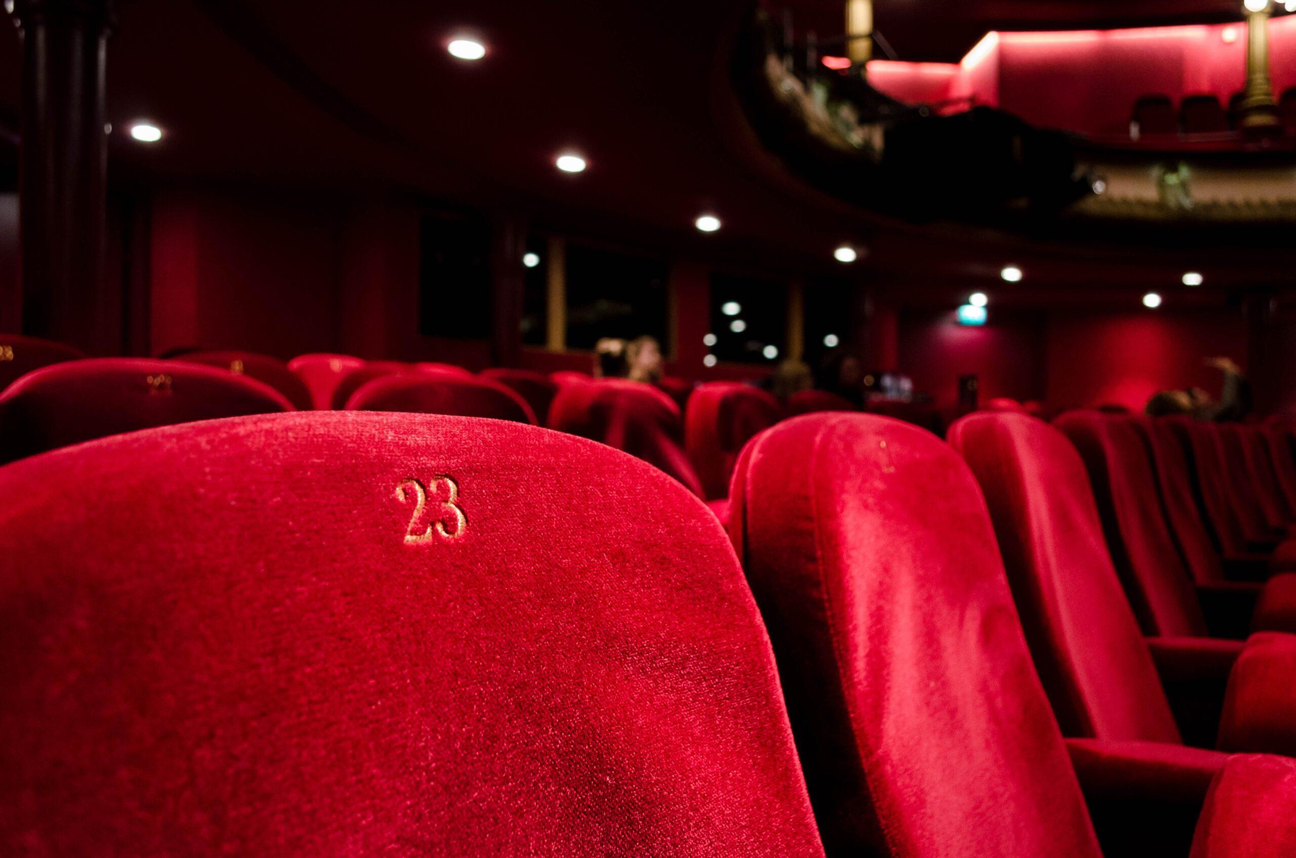 Plush red movie theatre seats
