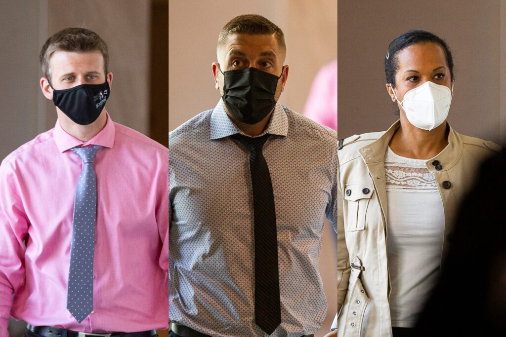 In a composite photo, three Halifax Regional Police officers — two men in shirts and ties and a woman in a brown jacket, all wearing masks — arrive at a Police Review Board hearing at a hotel in Dartmouth on Monday, June 21, 2021.