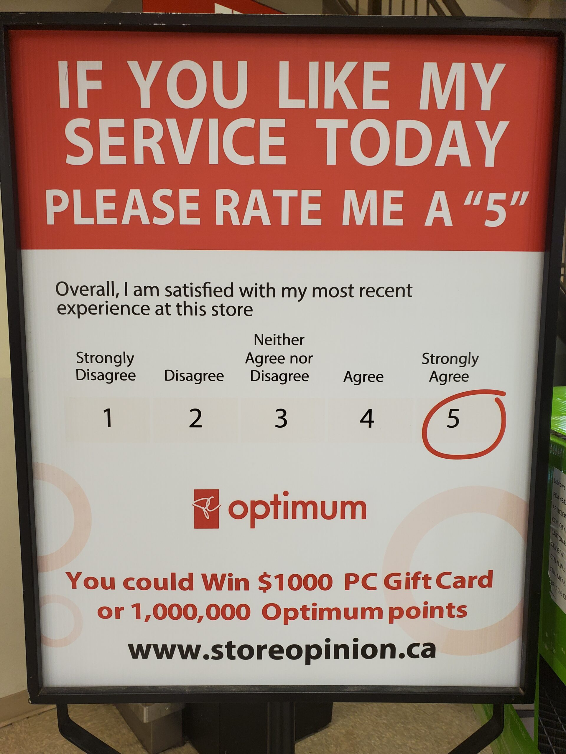 Sign asking customers to rate the service a 5 and run a chance to win a prize.