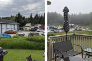 Two views from Vanessa Jackson's back deck, showing the car repair lot mere metres awau from her lawn, with just a small width of bushes between.