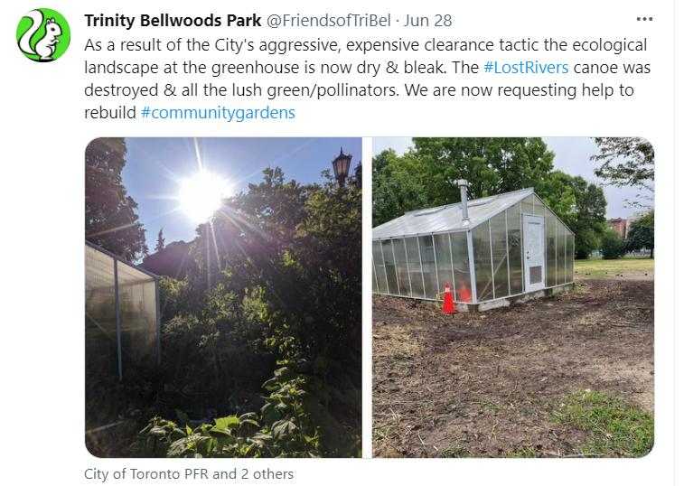 Tweet showing destruction of community garden.