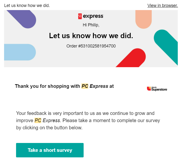 Screenshot of an email asking for participation in a customer feedback survey