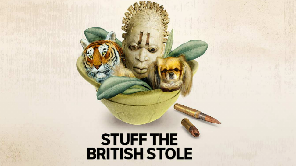 """Composite image with a bowl. Inside the bowl are a model of a head with facial tattoos, a tiger, a pomeranian, and leaves. There are bullets outside the bowl. At the bottom of the image are the words """"Stuff the British Stole."""""""