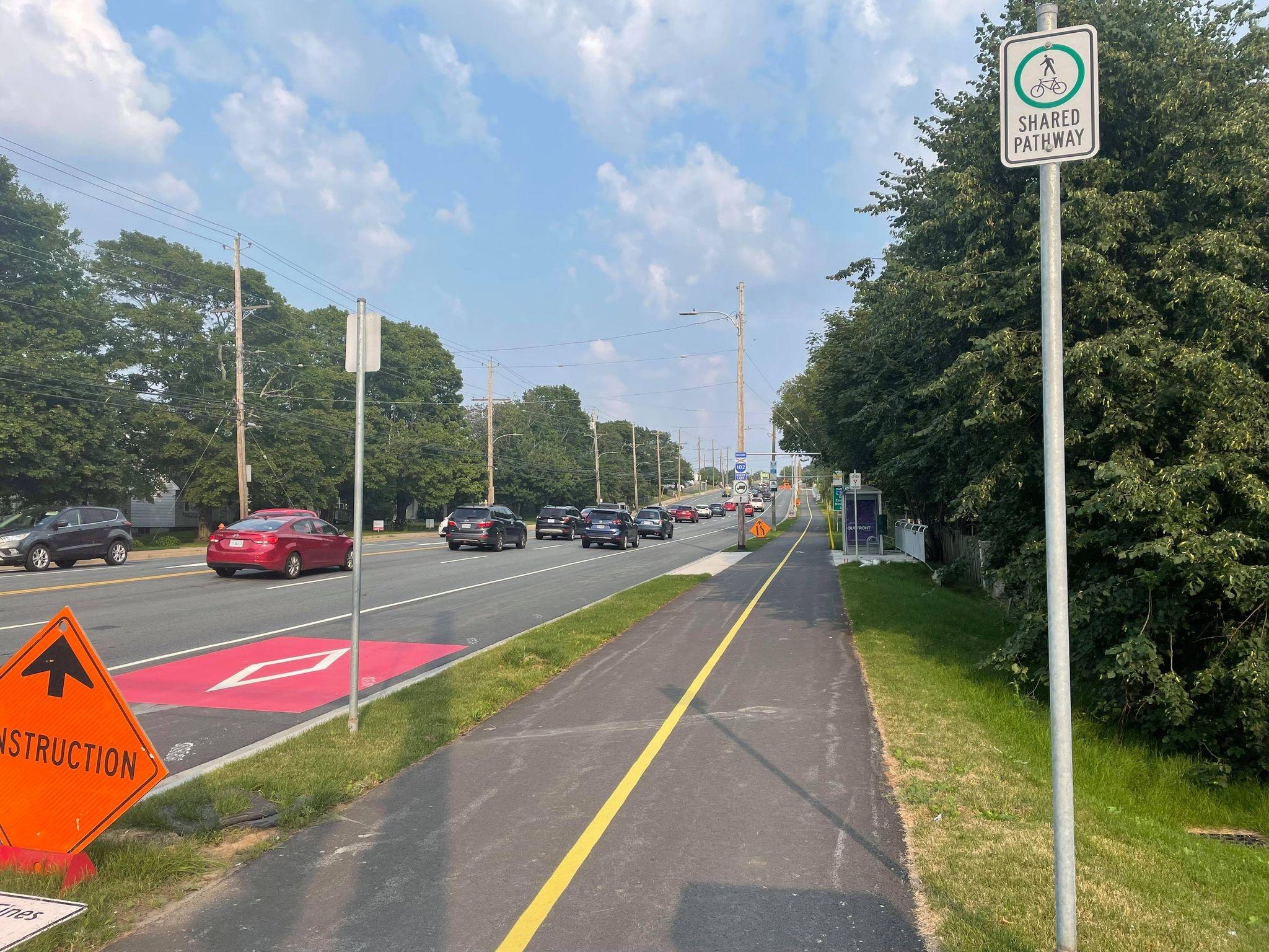 Shared pathway along Bayers Road looking toward Halifax Shopping Centre.