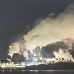 Northern pulp mill at night