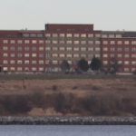 The oppressive Nova Scotia Hospital on a cloudy day.
