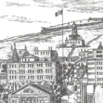 A drawing of Halifax from the late 60s showing the waterfront and Citadel Hill.