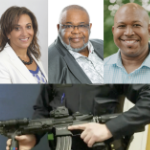 Four photos: three of Black candidates, one of a white cop holding a high-powered gun