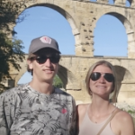 Andrew and Nicole Gnazdowsky, in front of a Roman aqueduct