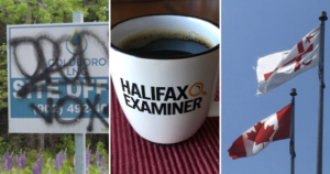 Three photos together: the LNG site sign covered with graffiti, a coffee filled Examiner mug, and the Canadian flag beside the Mi'kmaq Grand Council flag.