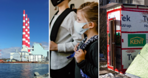 Three photos: the Tufts Cove generating station, children wearing masks and backpacks, and a homeless shelter beside a green tent.