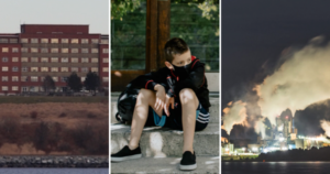 Three photos: the Nova Scotia Hospital, a child with a mask and a backpack waits on some steps, Northern Pulp mill at night.