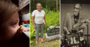 Three photos from this week's articles: A child peeking through a window, Irma Olivier Riley standing by a gravestone, and Gerry Granelli.