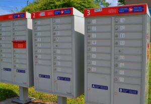 A row of Canada Post mailboxes