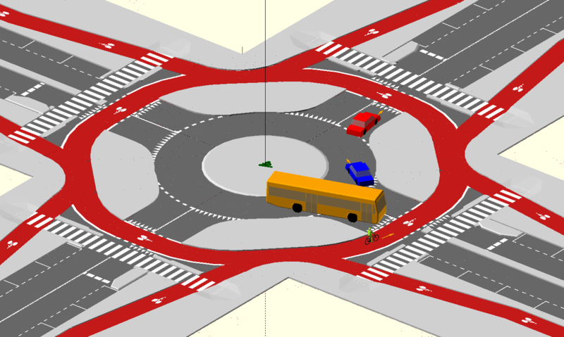 Schematic showing a roundabout with separate lanes for cars, pedestrians, and cyclists