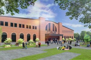 A rendering of the front of the Forum after redevelopment. There's grass and trees out front.