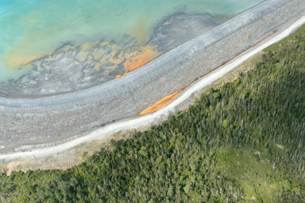 An aerial shot of the possible tailings leak at Touquoy open pit gold mine