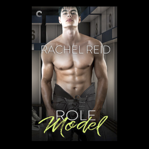 The cover for Rachel Reid's book Role Model, which shows a fetching young man with great abs, shirtless with hockey pants.