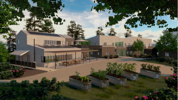 Rendering of houses with raised garden beds in the foreground.