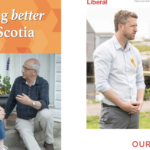Segments of two candidates' posters.