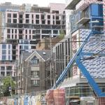 Buildings under construction.