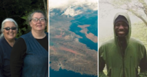 Two smiling white women from the Eastern Shore, an aerial view of Nova Scotia, and a smiling Black man in the forest on a foggy day.