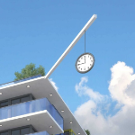A clock suspended by a long thin rod from a pole which juts out of the corner of a building's roof.
