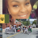 Two photos: a smiling Black woman, and Black people in the Emancipation Day parade