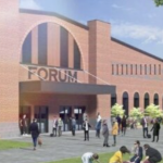 A rendering of the proposed redevelopment of the Forum, showing grass and trees out front.