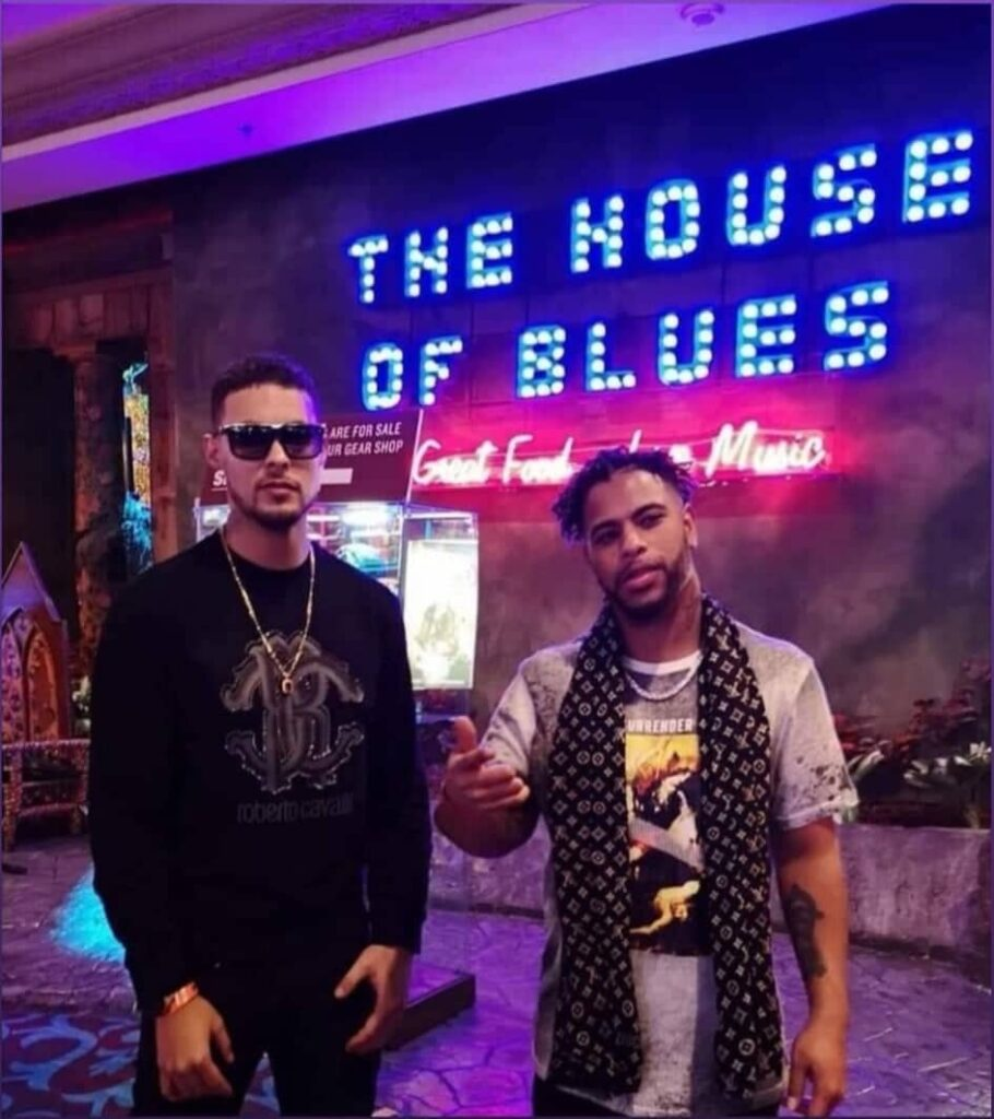 Nova Scotia hip hop artists Andrew Winter and Kalen Simmonds stand in front of the stage at The House of Blues, a music venue in Las Vegas.